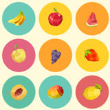 Seamless vintage polygon fruit pattern Royalty Free Stock Images