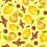 Seamless vintage polygon ginger lemon grape anise pattern Stock Images