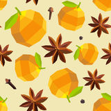Seamless vintage polygon orange anise mulled wine pattern Royalty Free Stock Photo