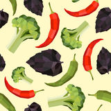 Seamless vintage polygon pepper basil broccoli pattern Royalty Free Stock Photography