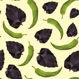 Seamless vintage polygon pepper basil pattern Stock Photos