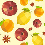 Seamless vintage polygon pomegranate lemon orange pattern Stock Photography