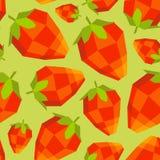 Seamless vintage polygon strawberry pattern Stock Photography