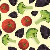 Seamless vintage polygon tomato broccoli basil pattern Stock Image