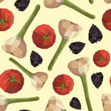 Seamless vintage polygon tomato garlic basil pattern Stock Images