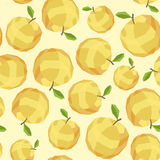 Seamless vintage polygon yellow apple pattern Stock Image