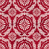Seamless Vintage Red Chinese Background Botanic Spiral Curve Cro Royalty Free Stock Image