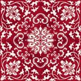 Seamless Vintage Red Chinese Background Botanic Spiral Vine Cross Flower vector illustration