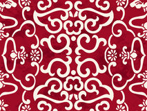 Seamless Vintage Red Chinese Background Cross Spiral Frame Flowe Stock Image