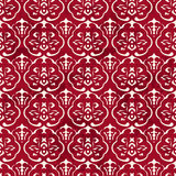 Seamless Vintage Red Chinese Background Curve Cross Frame Flower Stock Photos