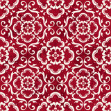 Seamless Vintage Red Chinese Background Curve Spiral Cross Flower Royalty Free Stock Photography