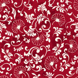 Seamless Vintage Red Chinese Background Curve Spiral Leaf Flower Royalty Free Stock Photos