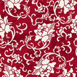 Seamless Vintage Red Chinese Background Spiral Botanic Flower Le royalty free illustration