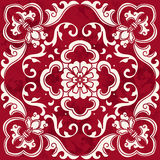 Seamless Vintage Red Chinese Background Spiral Curve Leaf Flower Royalty Free Stock Photo