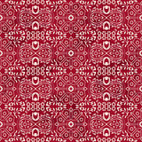 Seamless Vintage Red Chinese Background Star Geometry Cross Flower Stock Photography