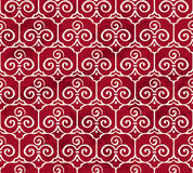 Seamless Vintage Red Chinese Background Trefoil Curve Spiral Cro Royalty Free Stock Photo