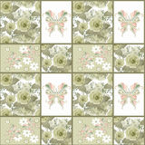Seamless vintage retro colors rose butterfly pattern background Royalty Free Stock Image