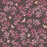 Seamless vintage romantic pattern with hand painted retro leaves, pink birds. Watercolor art on dark background Stock Photo