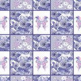 Seamless vintage rose butterfly pattern background Royalty Free Stock Images
