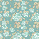 Seamless vintage Rose pattern. In Blue Stock Image
