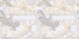 Seamless vintage scrap template. Design: includes photo frame, baw, flower, laces, buttons, origami star, laces, cloud, and paisley elements stock illustration