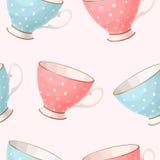 Seamless vintage teacups Stock Images
