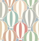 Seamless vintage texture with stickers hot air balloons. Stock Photos