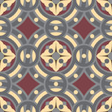 Seamless vintage tile background pattern in golden, gray, vinous colors. The main element of mosaic is abstract flower in circles Stock Image