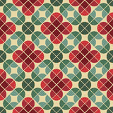 Seamless vintage tiles background with stylized flowers. Royalty Free Stock Image