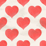 Seamless vintage vector pattern of red  watercolor hearts Stock Images