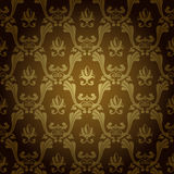 Seamless vintage wallpaper background old gold Royalty Free Stock Photos