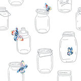 Seamless vintage whimsical pattern with jars and butterflies. Retro background Royalty Free Stock Photos