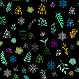 Seamless vintage winter pattern with hand drawn floral decorative elements Royalty Free Stock Photos