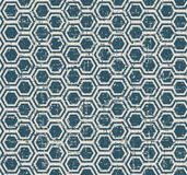 Seamless vintage worn out blue polygon geometry pattern background. Stock Image
