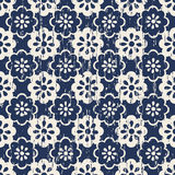 Seamless vintage worn out cute blue flower pattern background. Royalty Free Stock Photos