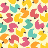 Seamless vintage yellow ducks polygon pattern Stock Photo