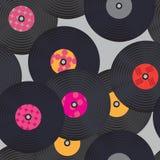 Seamless vinyl records pattern. Stock Image