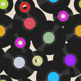 Seamless vinyl records pattern Royalty Free Stock Image