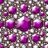 Seamless violet crystals pattern. Large and small faceted gemstones. Jewelry pattern. Glamour voilet background Stock Images