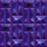 Seamless violet dark 3d pattern of rectangular blocks Royalty Free Stock Image
