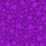 Seamless violet Halloween background with holiday icons Royalty Free Stock Photos