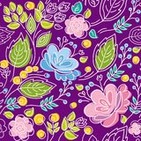 Seamless violet pattern, blue, pink flowers, green leaves, white outline. Stock Photography