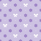 Seamless violet pattern with flowers and butterflies, vector Stock Images