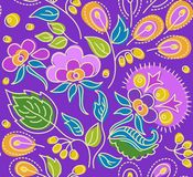 Seamless violet pattern of flowers, yellow berries and orange seeds. On a purple floral background, seamless pattern with lilac flowers, green leaves and yellow Stock Photography
