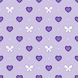 Seamless violet pattern with hearts and butterflies, vector Stock Images
