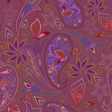 Seamless violet pattern with paisley and butterflies. Vector print . Stock Images