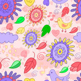 Seamless violet-pink pattern with birds, flowers and leaves. Stock Photos