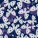 Seamless violet-white pattern with butterflies Stock Images