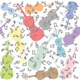 Seamless with violins and musical notes. Pattern Royalty Free Stock Images