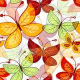 Seamless vivid  autumn pattern. With translucent butterflies (vector EPS 10 Stock Image